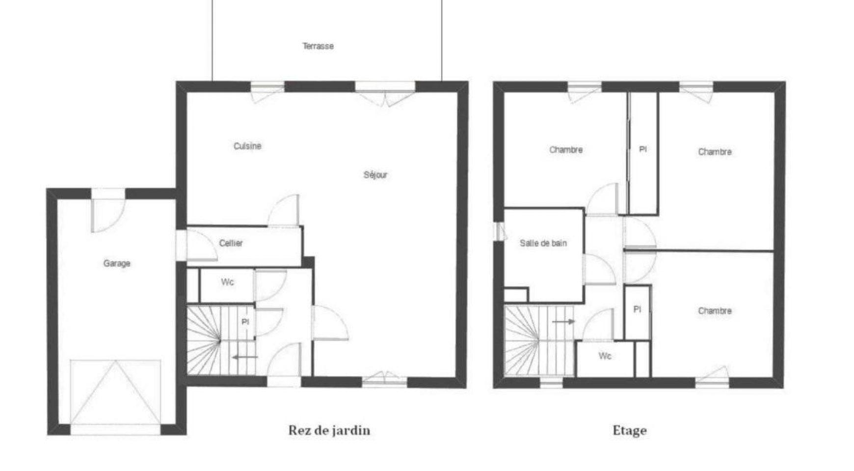 Plans maison t4 for Plan maison t4