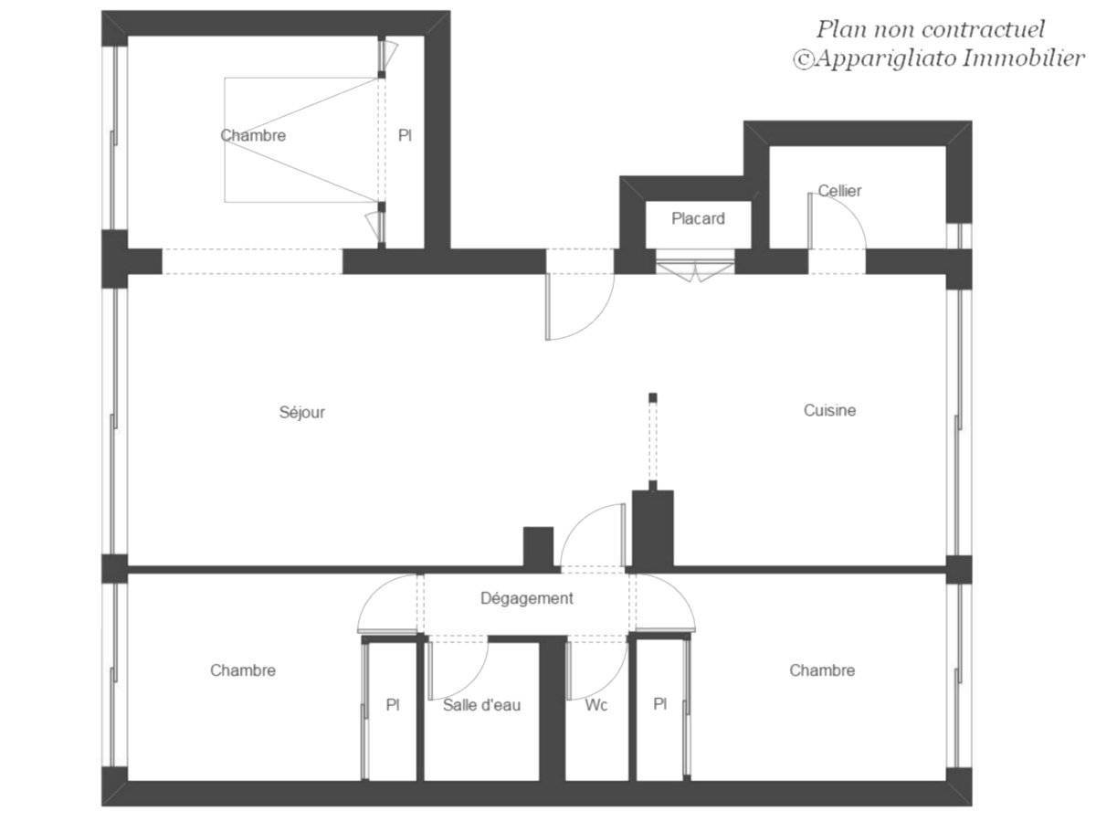 A vendre appartement toulouse ancely t4 75m2 plan agence for Plan maison t4